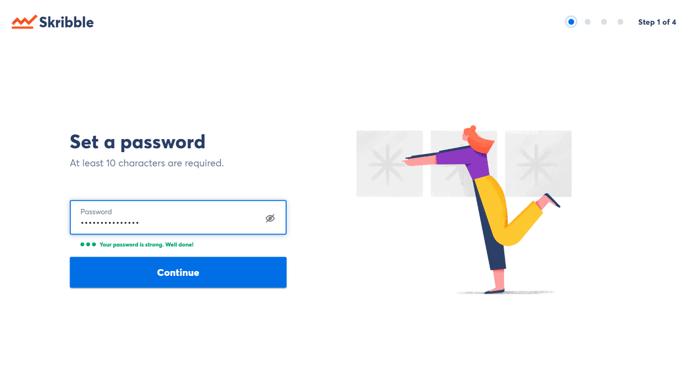 Konto anlegen strong password well done