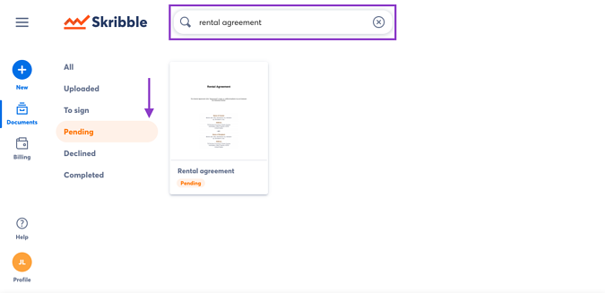 Search documents by status-1