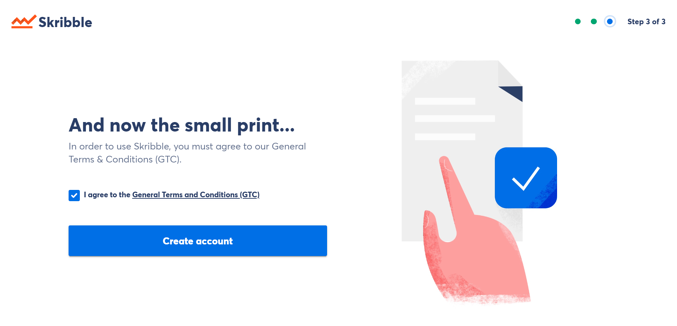 small print create skribble account